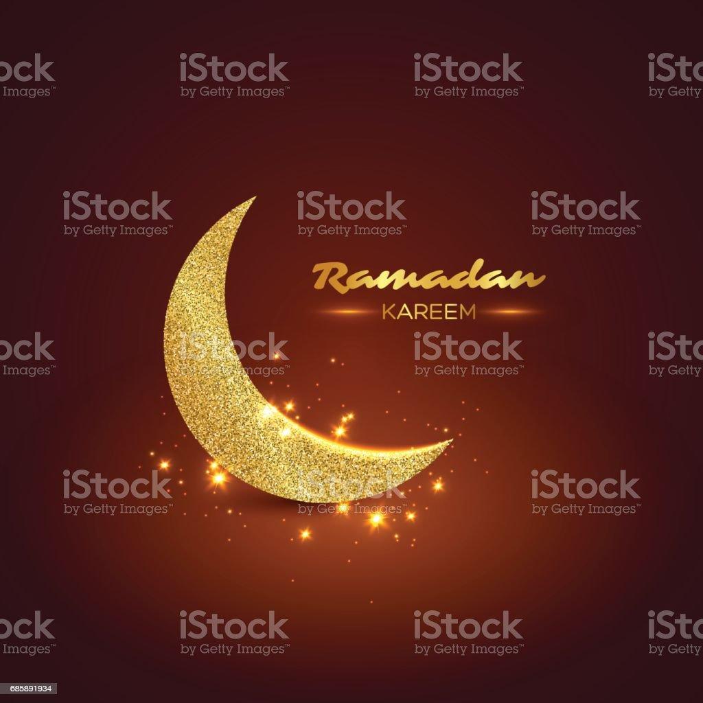 Ramadan Kareem glitter design. vector art illustration