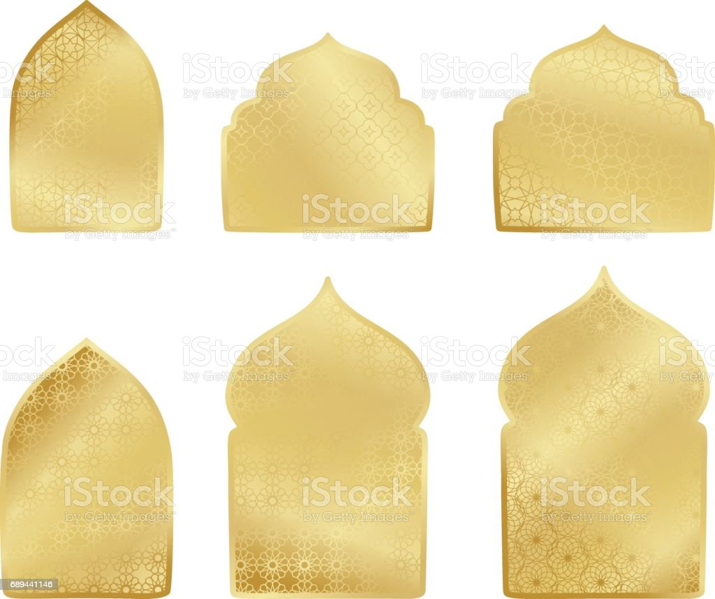 Ramadan Kareem gold greeting card, banner muslim elements. Vector arabic shining background in islamic style vector art illustration