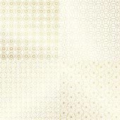 Ramadan Kareem gold greeting card, banner, seamless pattern set. Vector arabic ornate geometric shining background in islamic style