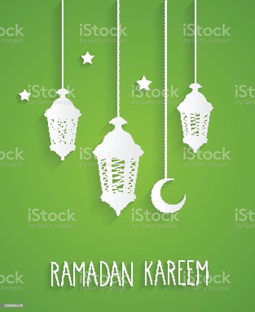Ramadan Kareem green card with hanging lanterns and stars vector art illustration