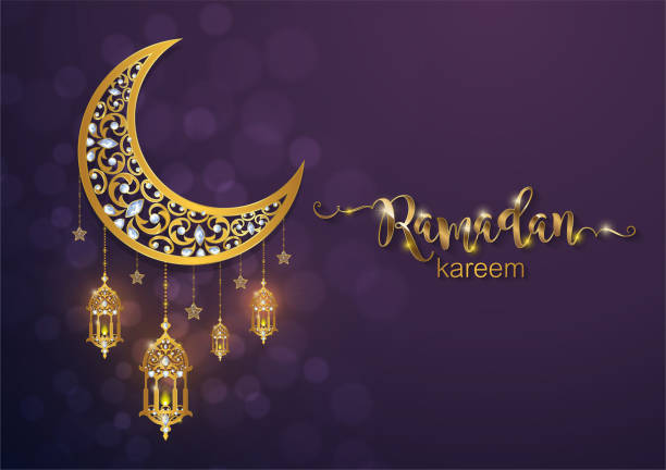 ramadan kareem greeting background islamic with gold patterned and crystals on paper color background. - ramadan stock illustrations, clip art, cartoons, & icons