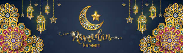 Ramadan Kareem greeting background Islamic with gold patterned and crystals on paper color background. vector art illustration