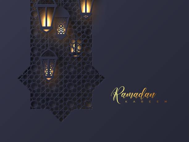 Ramadan Kareem greeting background. Ramadan Kareem greeting background. 3d paper cut octagon with glowing lanterns decorated traditional islamic pattern. Design for greeting card, banner or poster. Vector illustration. eid mubarak stock illustrations