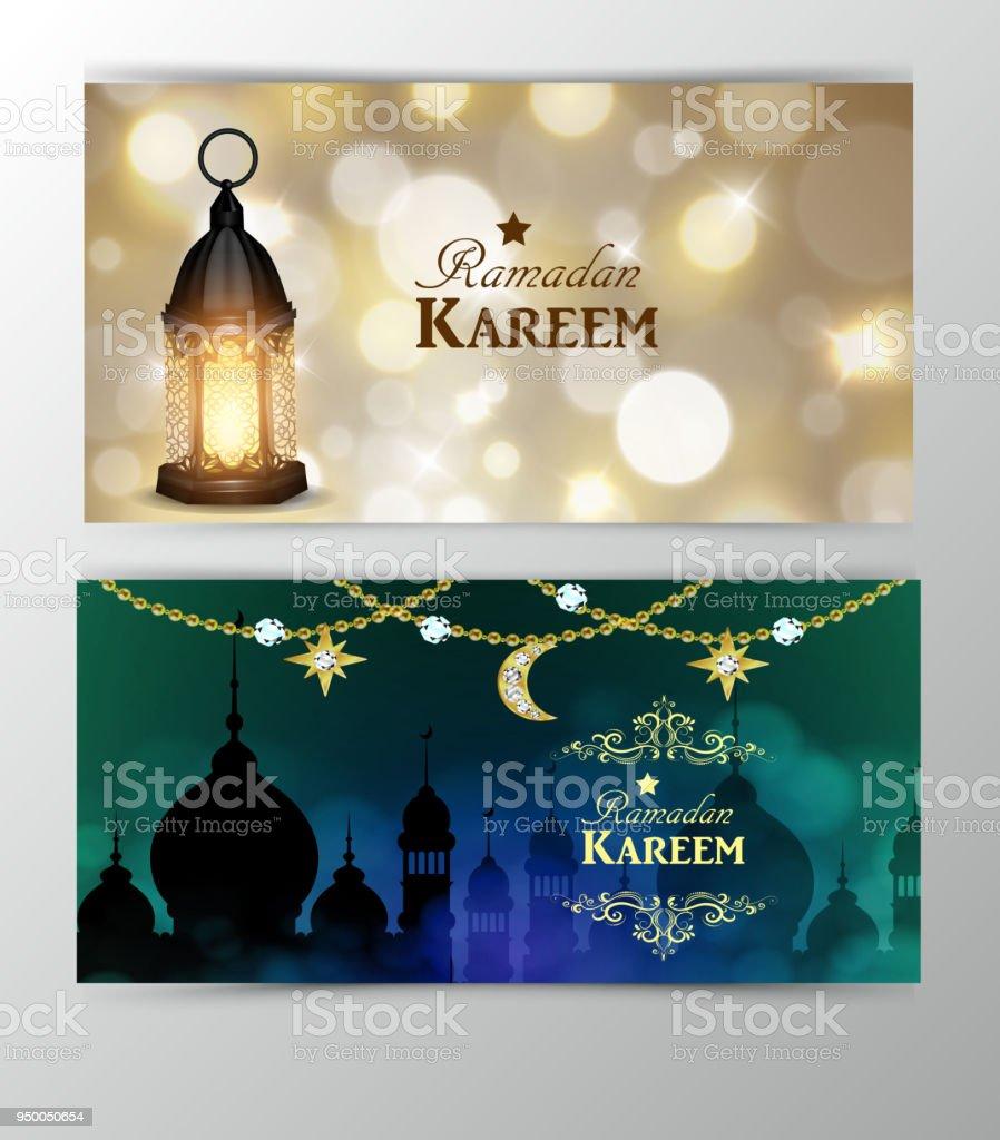 Ramadan Kareem, greeting background vector art illustration