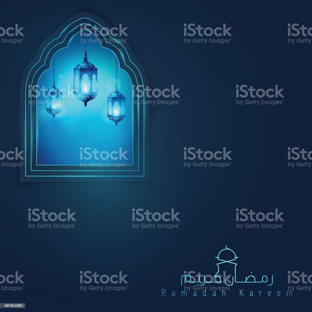 Ramadan Kareem greeting background with glow arabic lantern ilustração de ramadan kareem greeting background with glow arabic lantern e mais banco de imagens de ilustração e pintura royalty-free