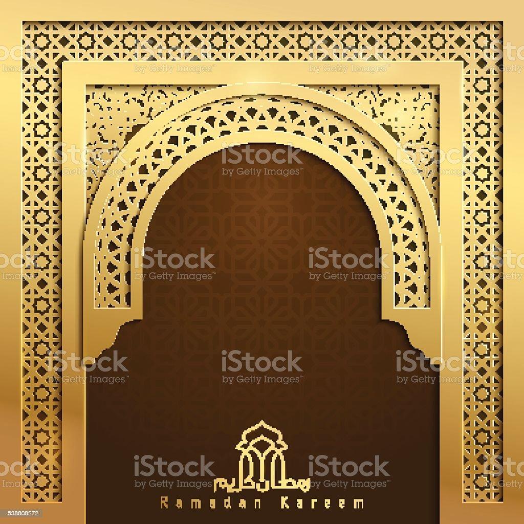 Ramadan Kareem Greeting Banner Background Mosque Door With Arabic Pattern  Royalty Free Ramadan Kareem Greeting
