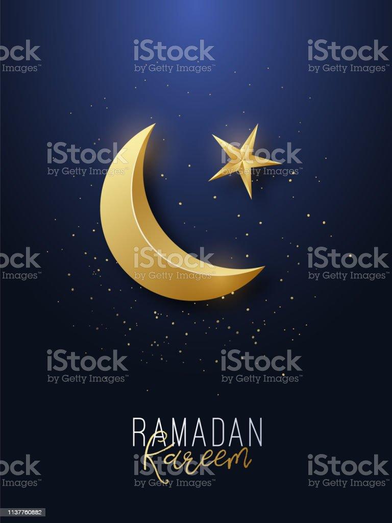 齋月卡裡姆問候橫幅。伊斯蘭符號金色新月和星星。向量例證。 - 免版稅伊斯蘭教圖庫向量圖形