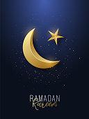 Ramadan Kareem greeting banner. Islamic symbol golden crescent and star. Vector illustration.