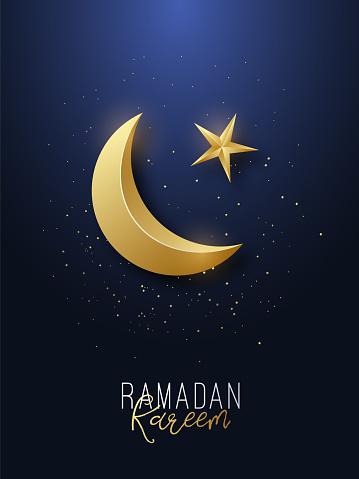 齋月卡裡姆問候橫幅伊斯蘭符號金色新月和星星向量例證向量圖形及更多伊斯蘭教圖片