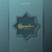 Ramadan Kareem greeting banner on blue background. Arabic pattern. Vector illustration.