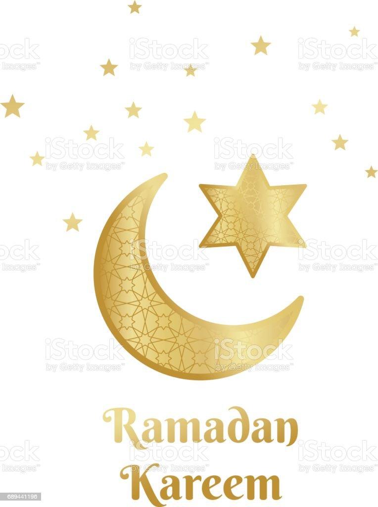 Ramadan Kareem Greeting Card Banner Poster Symbol With Crescent Moon