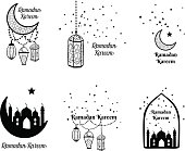 Ramadan Kareem greeting card, banner, poster, symbol with lantern, crescent, moon and star elements. Vector arabic background in islamic style