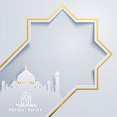 Ramadan Kareem greeting card banner template