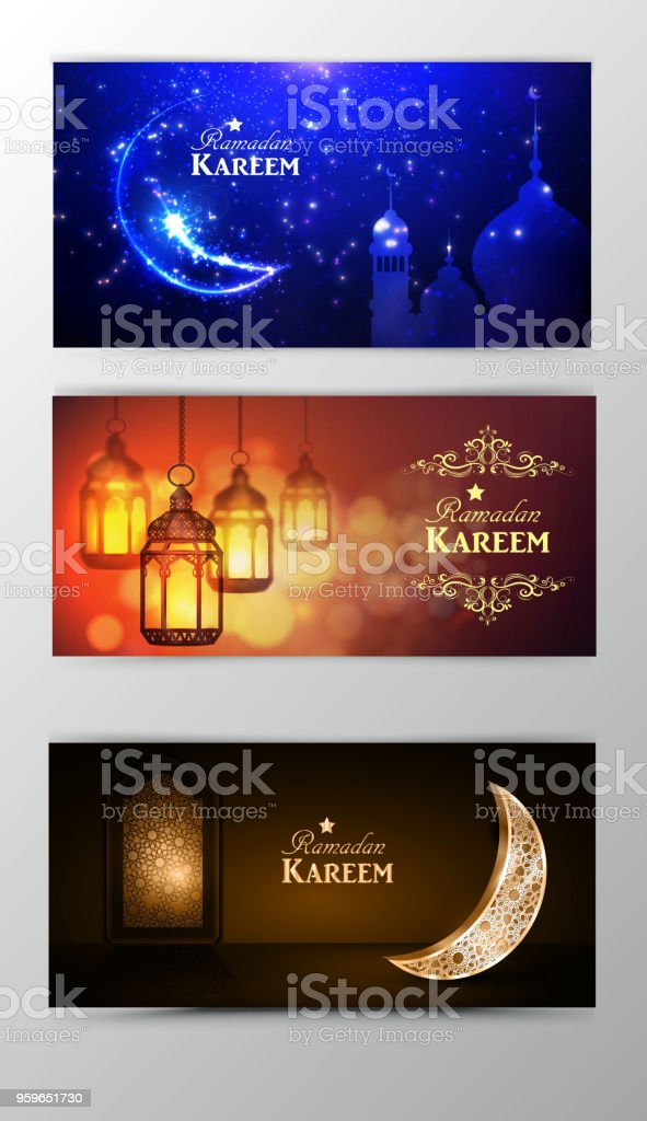 Ramadán Kareem tarjetas banners set - arte vectorial de Canadá libre de derechos