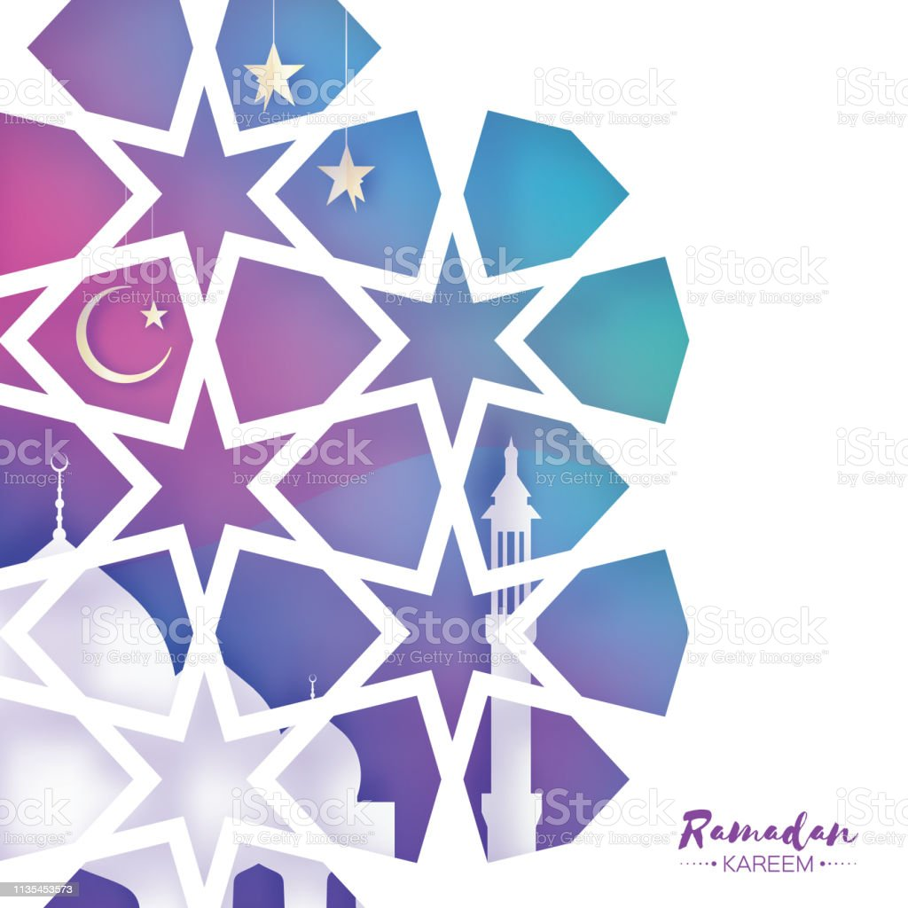 Ramadan Kareem Greeting card. Beautiful Mosque. Origami Arabesque Window. Arabic Ornamental pattern in paper cut style. Holy month of muslim. Crescent Moon. Purple.Vector vector art illustration