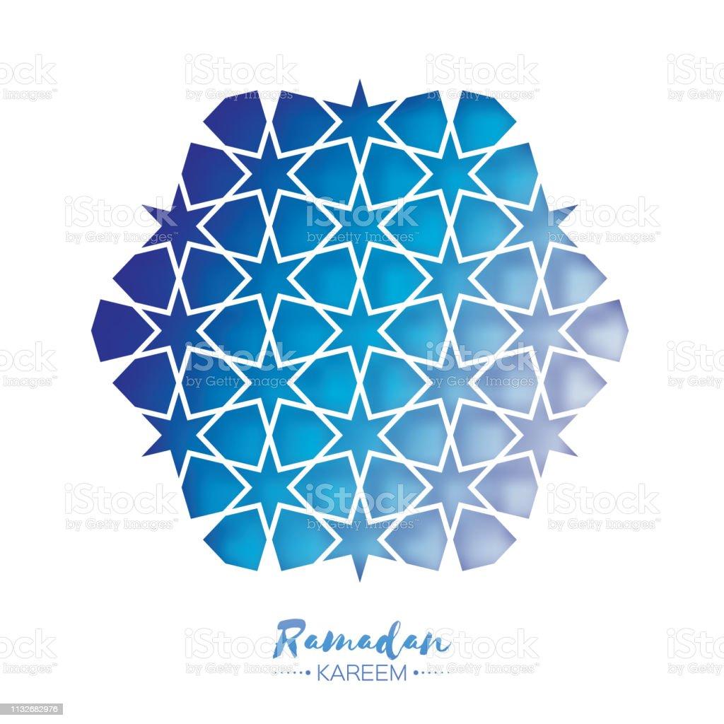 Ramadan Kareem Greeting card .Blue Origami Arabesque Mosque Window. Arabic Ornamental pattern in paper cut style.Holy month of muslim. vector art illustration