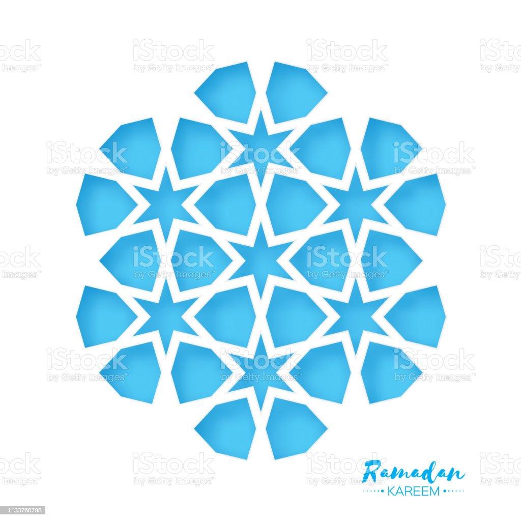 Ramadan Kareem Greeting card .Blue Origami Arabesque Mosque Window. Arabic Ornamental pattern in paper cut style.Holy month of muslim. Vector vector art illustration