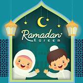 Ramadan kareem greeting card. Cute cartoon muslim kids with famous (lantern), mosque, crescent moon, stars & blue window frame. (translation: Ramadan the Generous Month)