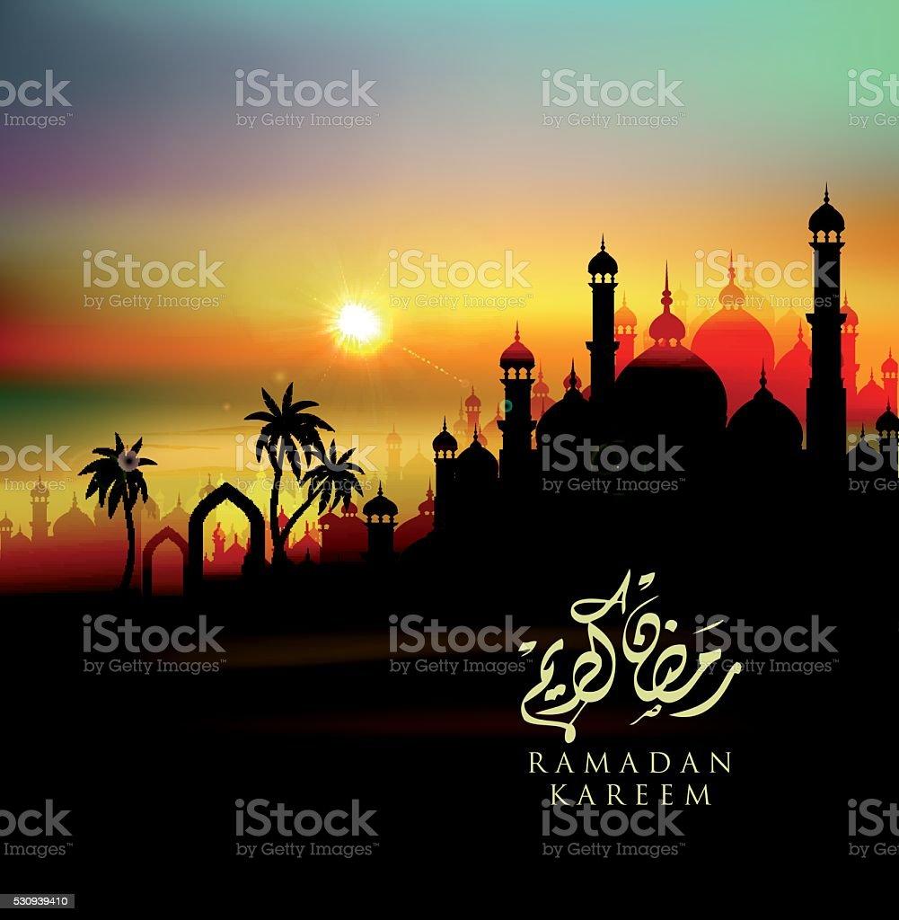 Ramadan Kareem greeting card - desert sunset landscape vector art illustration