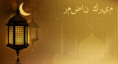 Ramadan Kareem greeting card glowing gold arabic lamps and moon.  Place for text