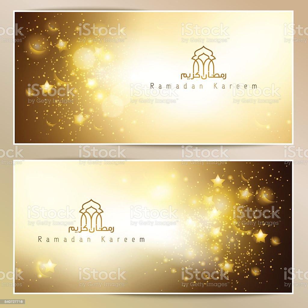 Ramadan Kareem greeting card glowing gold islamic star and crescent vector art illustration