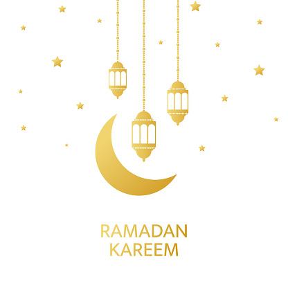 Ramadan Kareem greeting card. Golden lanterns, crescent and stars hanging on white background. Luxury gold design elements for banner, poster, invitation. Muslim islamic feast. Vector illustration