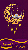 Ramadan Kareem vector greeting card layout with mosque, minarets, arabic shining lamps, and ornamental decor. Islamic background good for stories.