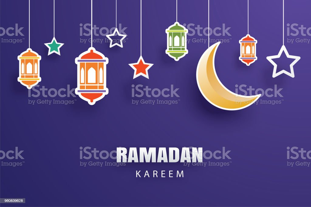 Ramadan kareem greeting card moon and stars traditional lanterns ramadan kareem greeting card moon and stars traditional lanterns background eid mubarak banner illustration design m4hsunfo