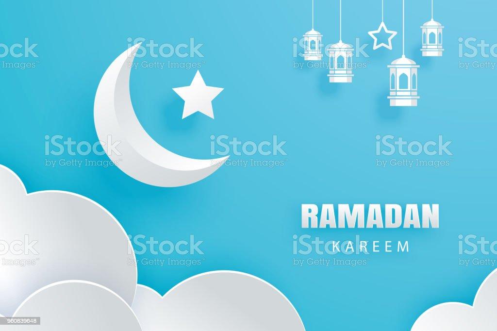 Ramadan kareem greeting card moon and stars traditional lanterns ramadan kareem greeting card moon and stars traditional lanterns background eid mubarak paper art banner m4hsunfo