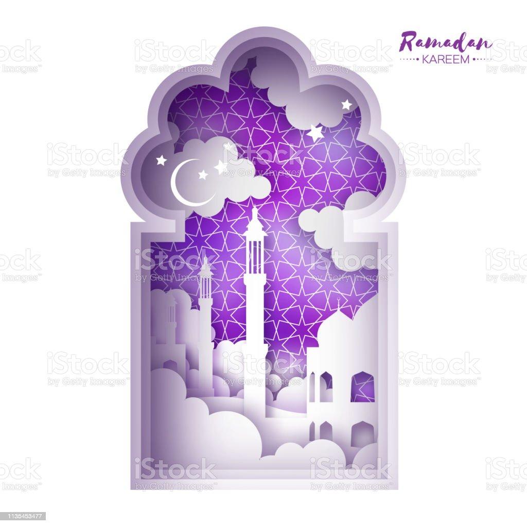 Ramadan Kareem Greeting card. Origami Mosque Window. Holy month. Paper cut Cloud. vector art illustration