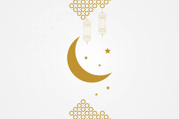 stockillustraties, clipart, cartoons en iconen met ramadan kareem wenskaartsjabloon. islamitische wassende maan, ramadan lamp of lantaarns en moslim patroon element. - suikerfeest