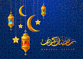 Ramadan Kareem greeting card decorated with arabic lanterns, crescent moon and calligraphy inscription which means ''Ramadan Kareem'' on blue background with oriental pattern. Vector illustration.