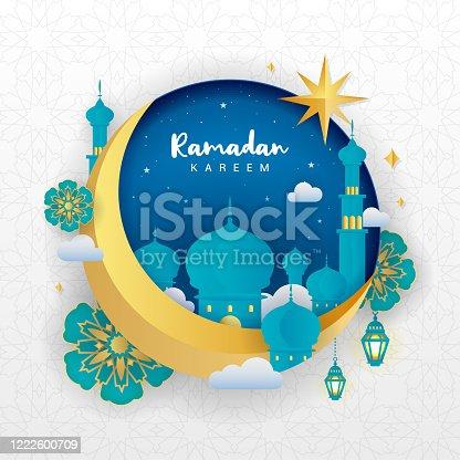 istock Ramadan Kareem Greeting Card vector illustration. Beautiful Crescent moon with mosque on islamic pattern background. Paper art style 1222600709