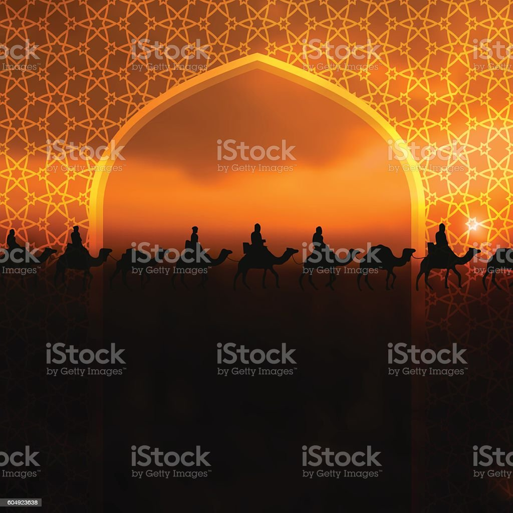 Ramadan Kareem greeting card with  Arabic arch and camels vector art illustration