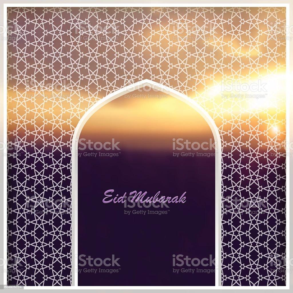Ramadan Kareem greeting card with Arabic arch vector art illustration