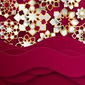 Ramadan Kareem greeting card with arabic origami paper stars. Holy month of muslim. Symbol of Islam. Islamic ramadan celebration vector background with paper waves.