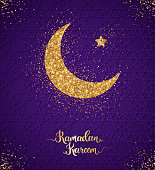 Ramadan Kareem glittering greeting card with crescent and star. Vector Illustration. Gold shining pattern with scattered confetti