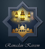 Vector illustration of Ramadan Kareem greeting card with gold lantern