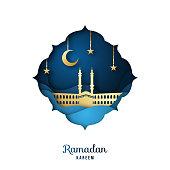 Ramadan Kareem Greeting card with golden mosque, crescent moon and stars. Paper cut landscape. Islamic festival celebration. Vector illustration.