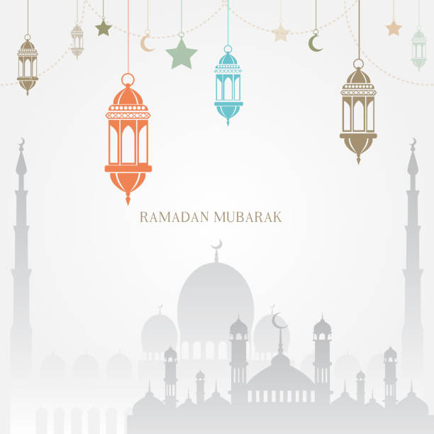 Ramadan Kareem greeting card with mosque, moon and arabic lamps. Vector Ramadan Kareem greeting card with mosque, moon and arabic lamps. Vector. ramadan stock illustrations