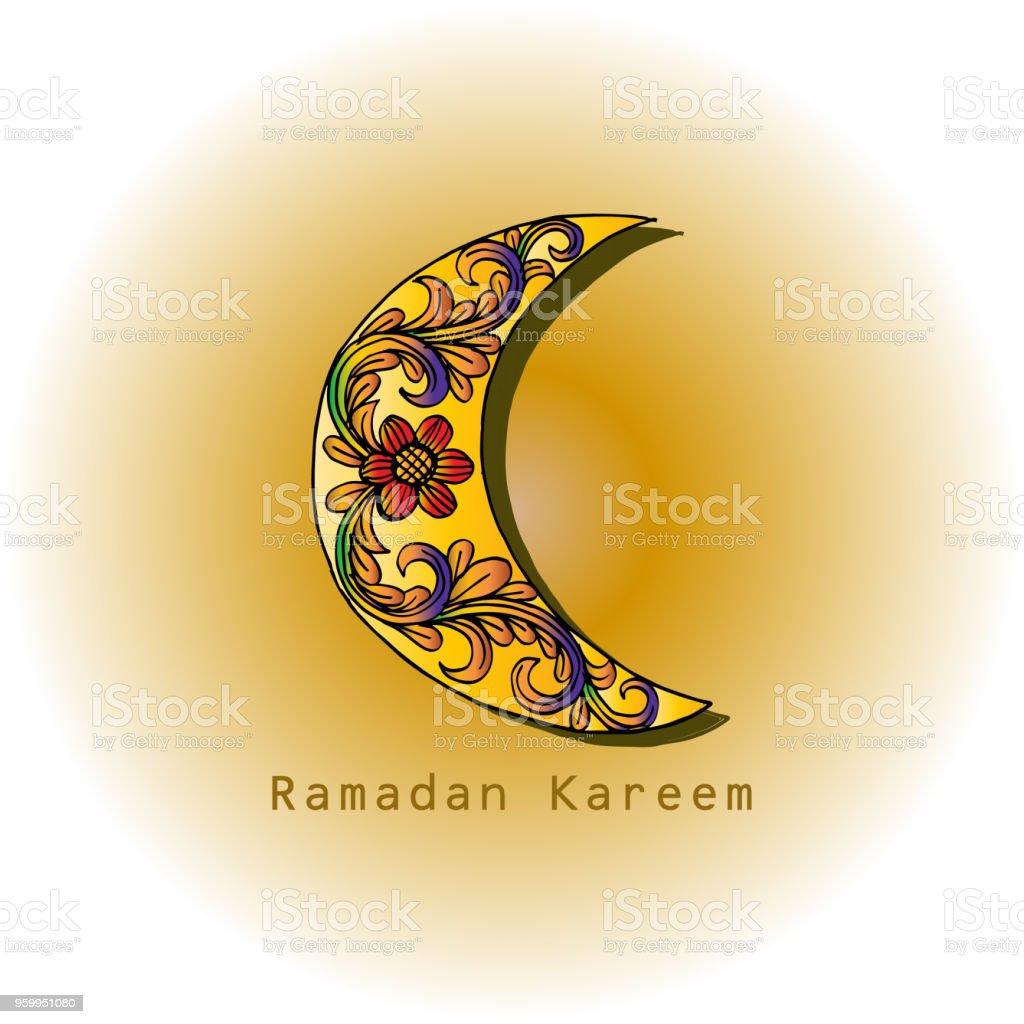 Ramadan Kareem greeting card with mosque vector art illustration