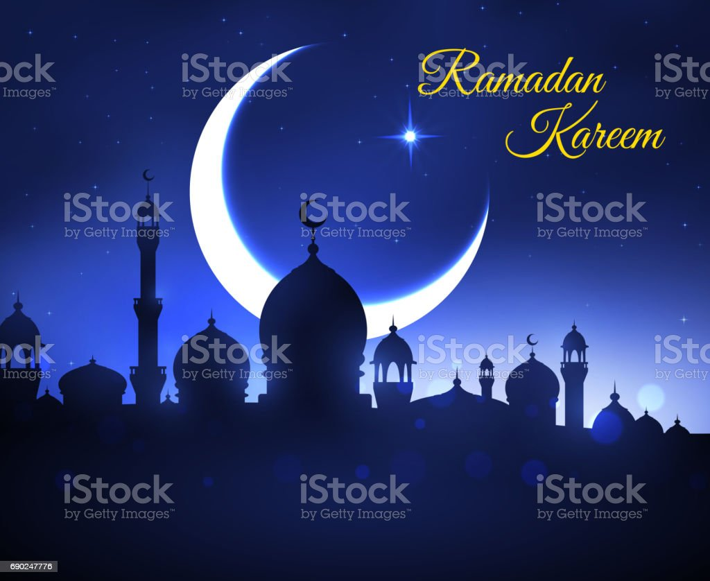 Ramadan Kareem greeting card with muslim mosque vector art illustration