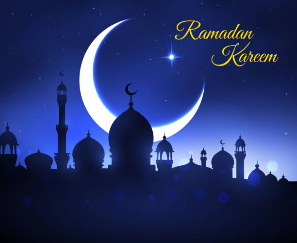 Ramadan Kareem greeting card with muslim mosque vector art illustration