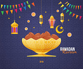 Ramadan Kareem greeting card with picture of sweet dates fruit in the gold metal Arabic bowl. Islam, Muslim calligraphy with signatures. Eid-al-fitr ramadan kareem postcard. Vector illustration.