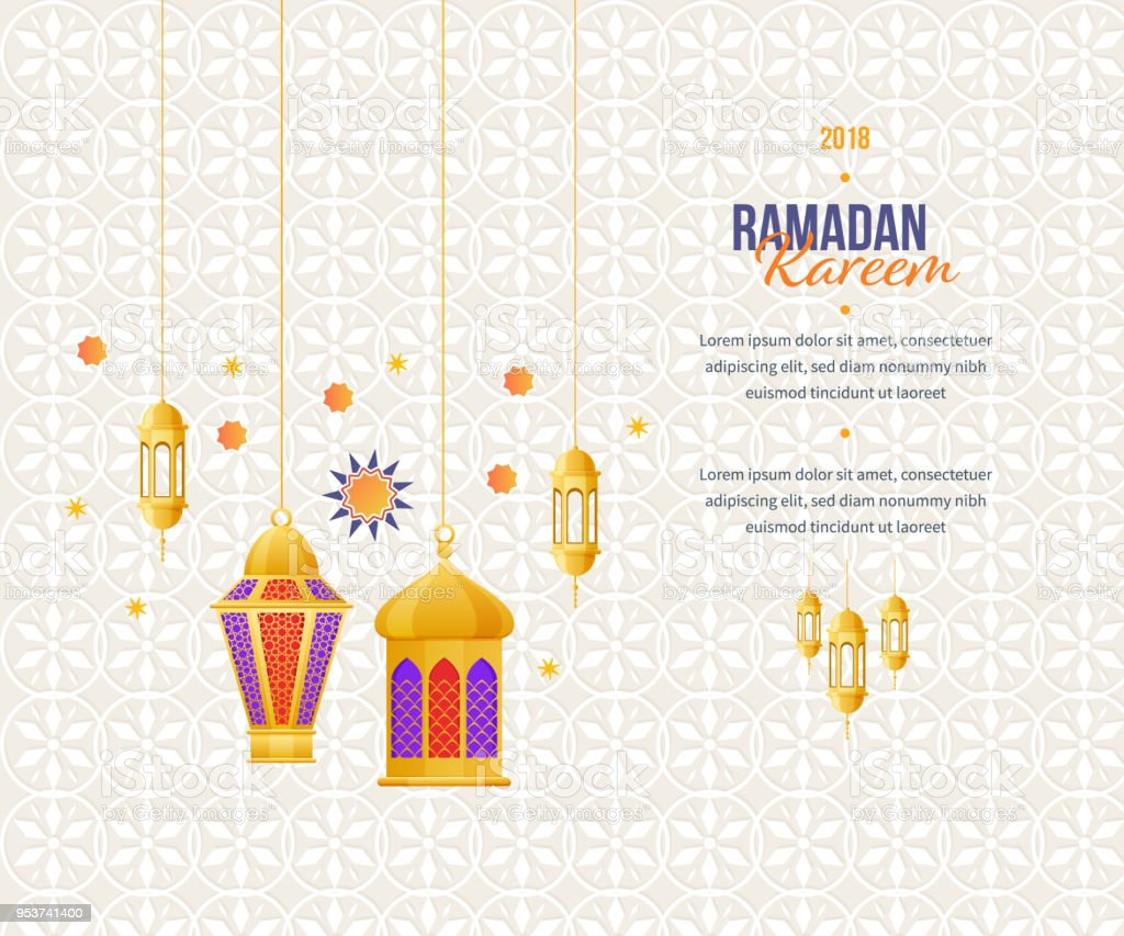 ramadan kareem greeting card with picture of colorful