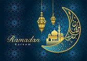 "Ramadan Kareem Greeting Card with unique lanterns with Arabic calligraphy . Translation: ""Ramadan Kareem is Happy & Holy Ramadan,  a month of fasting for Muslims."