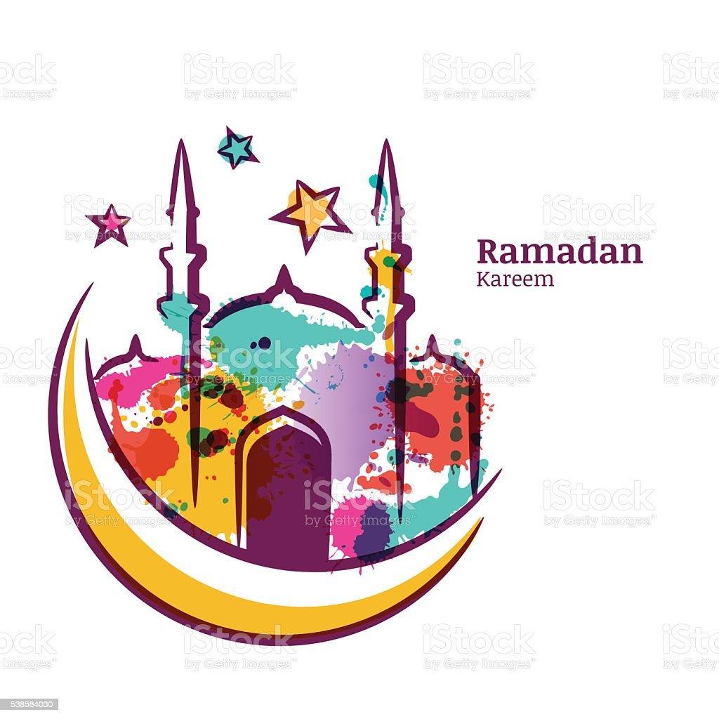 Ramadan Kareem greeting card with watercolor illustration of mosque. vector art illustration