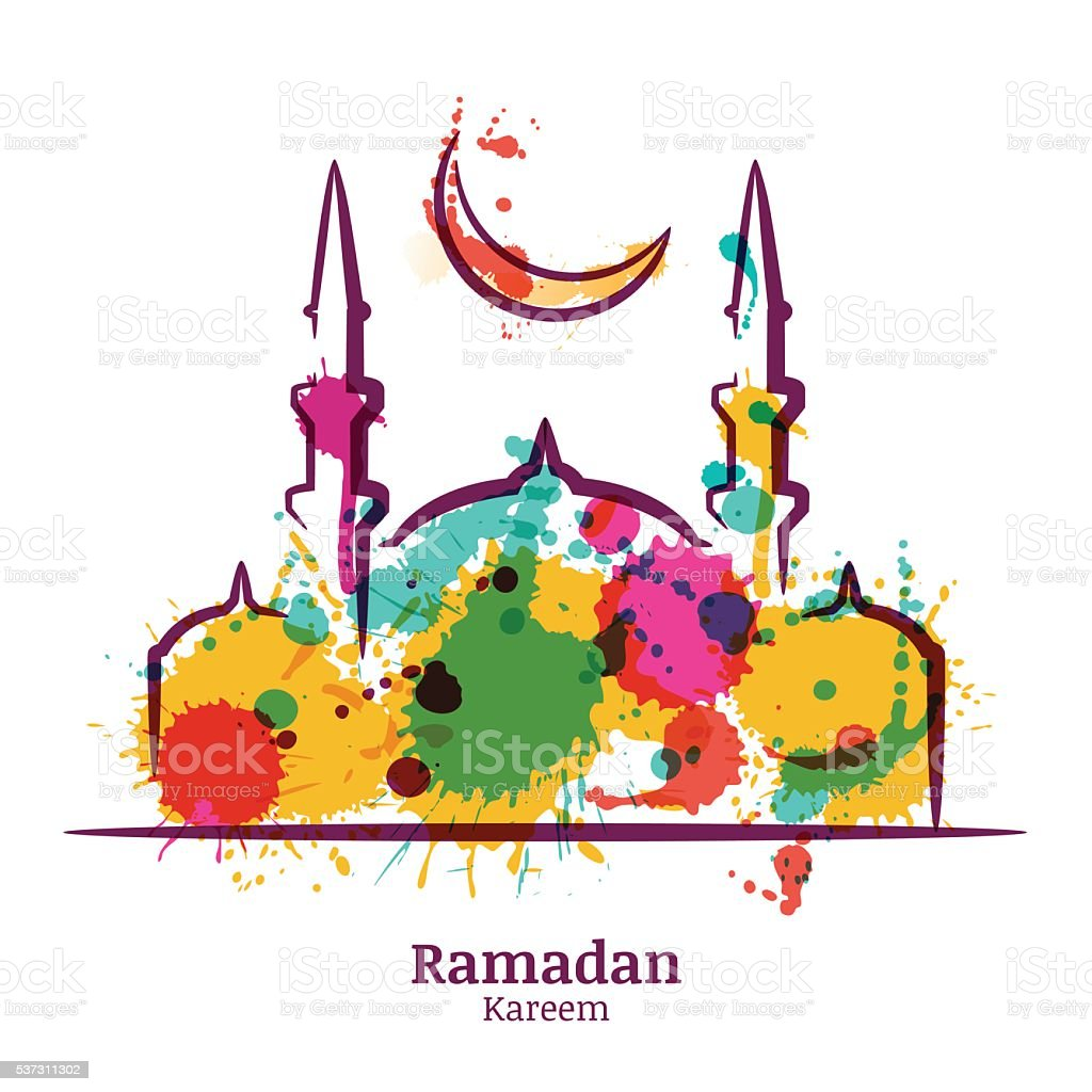 Ramadan Kareem greeting card with watercolor mosque and moon. vector art illustration