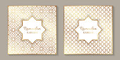 Set of two greeting cards for ramadan with golden arabic traditional ornament on a white background.