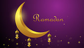 Ramadan Kareem greeting concept. The crescent moon with burning candle at night. Vector illustration design.